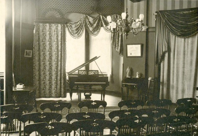 "The Music Conservatory in the ""Old Main"" at the Oneonta State Normal School- circa 1920 www.oneonta.edu"